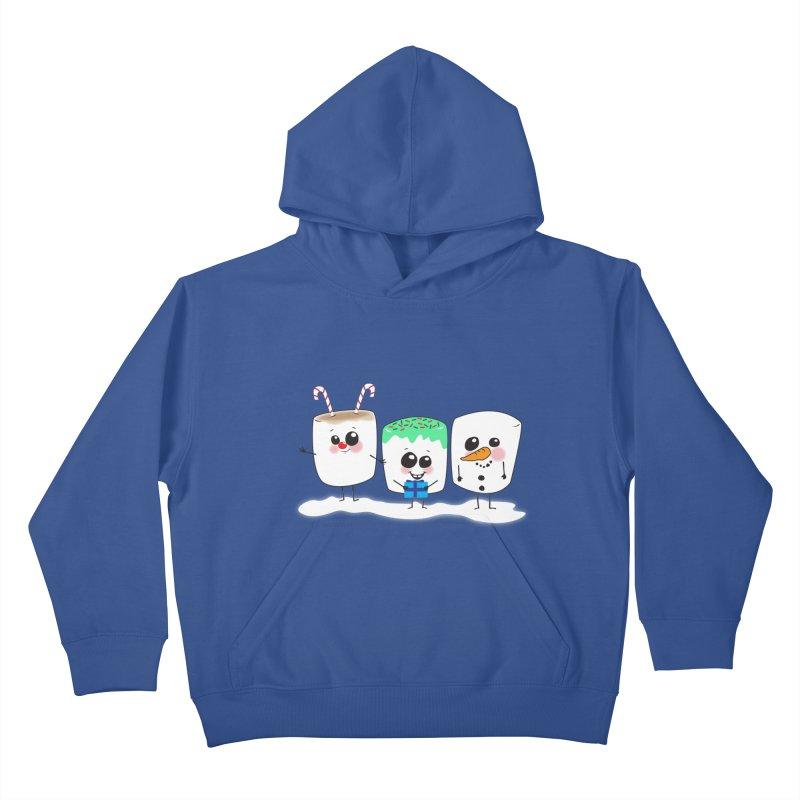 Festive Marshmallows Kids Pullover Hoody by LLUMA Creative Design