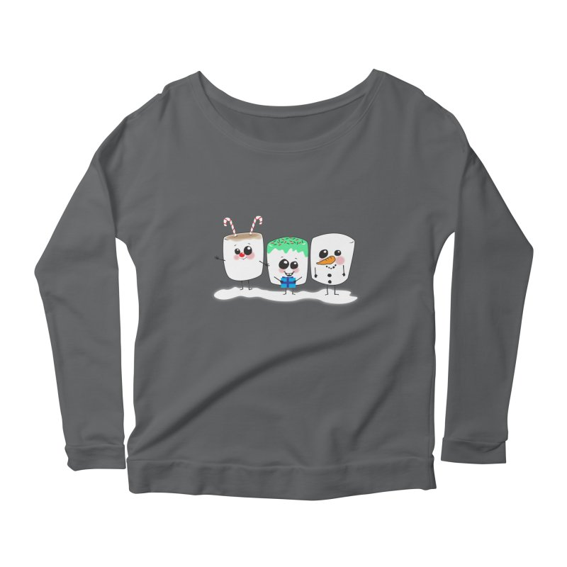 Festive Marshmallows Women's Scoop Neck Longsleeve T-Shirt by LLUMA Creative Design