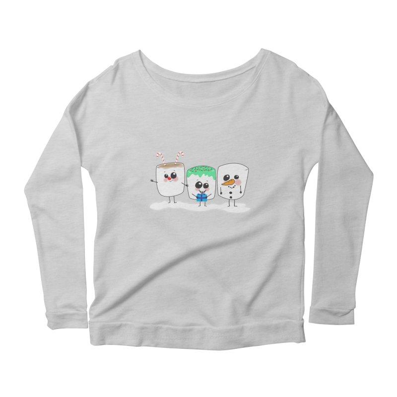 Festive Marshmallows Women's Scoop Neck Longsleeve T-Shirt by LLUMA Creative Design