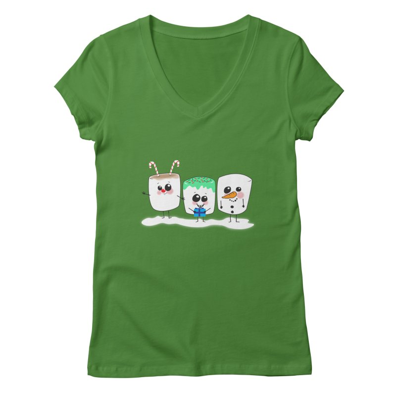 Festive Marshmallows Women's Regular V-Neck by LLUMA Creative Design