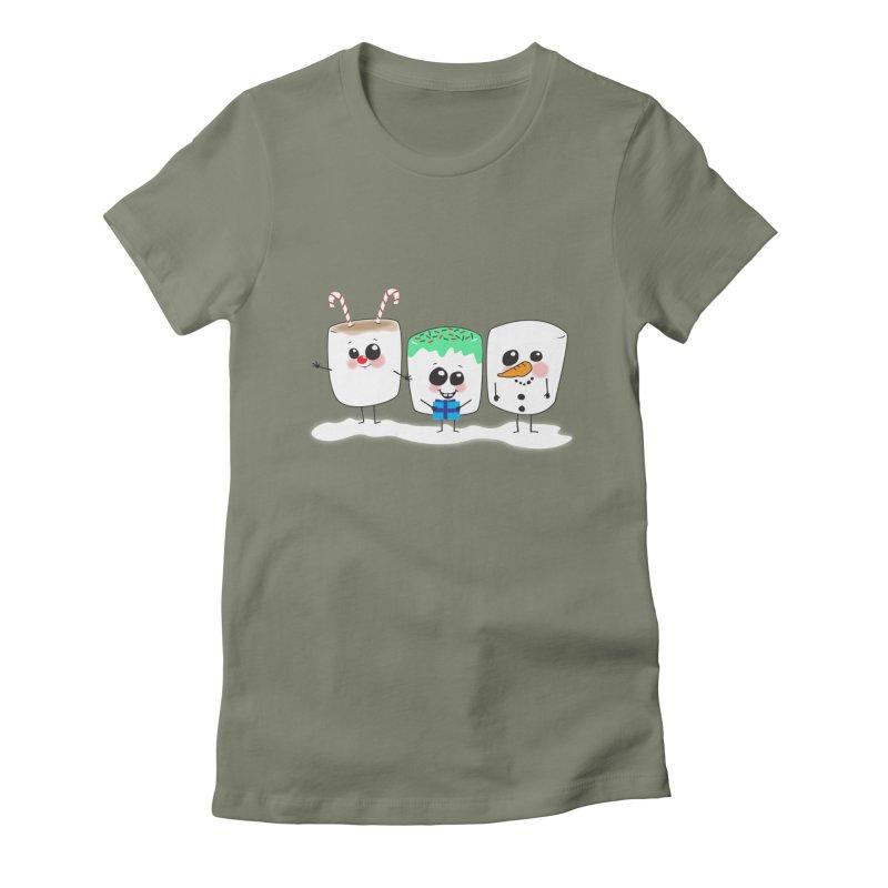 Festive Marshmallows Women's Fitted T-Shirt by LLUMA Creative Design
