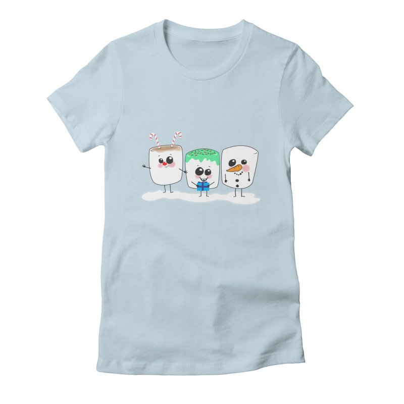 Festive Marshmallows Women's Fitted T-Shirt by LLUMA Creative Design