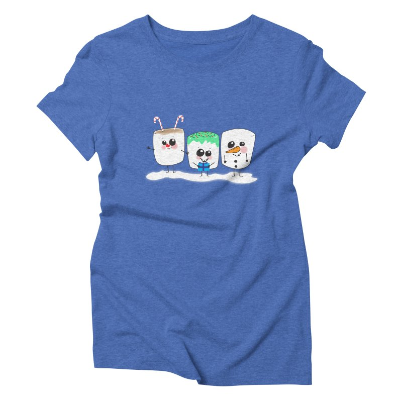 Festive Marshmallows Women's Triblend T-Shirt by LLUMA Creative Design