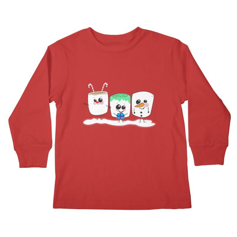 Festive Marshmallows Kids Longsleeve T-Shirt by LLUMA Creative Design
