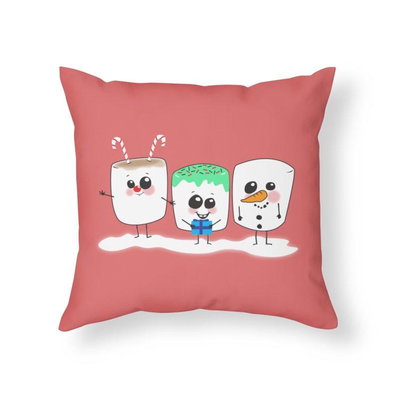 Festive Marshmallows Home Throw Pillow by LLUMA Creative Design