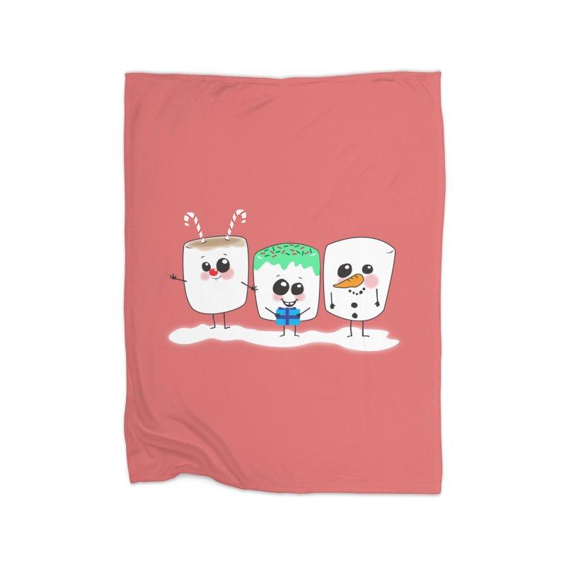 Festive Marshmallows Home Fleece Blanket Blanket by LLUMA Creative Design