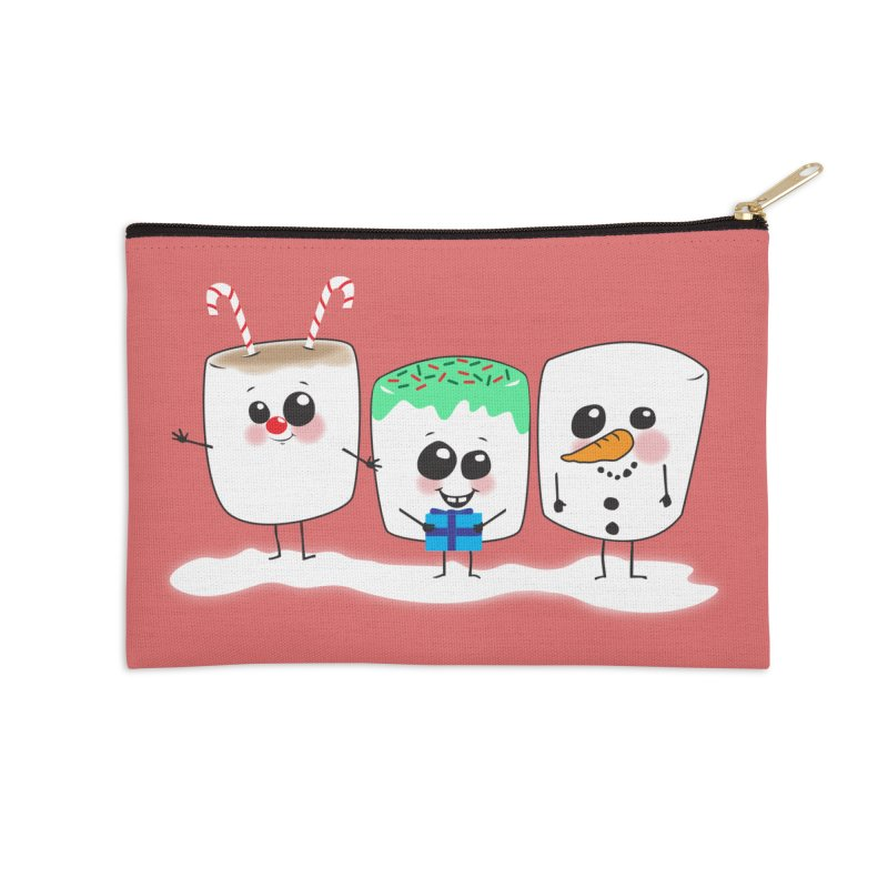 Festive Marshmallows Accessories Zip Pouch by LLUMA Creative Design