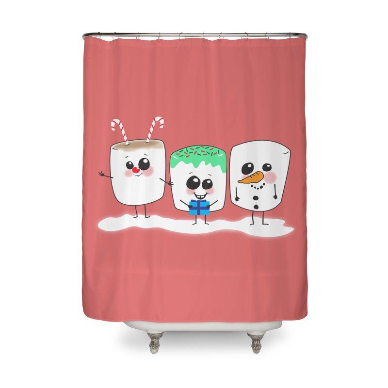 Festive Marshmallows Home Shower Curtain by LLUMA Design