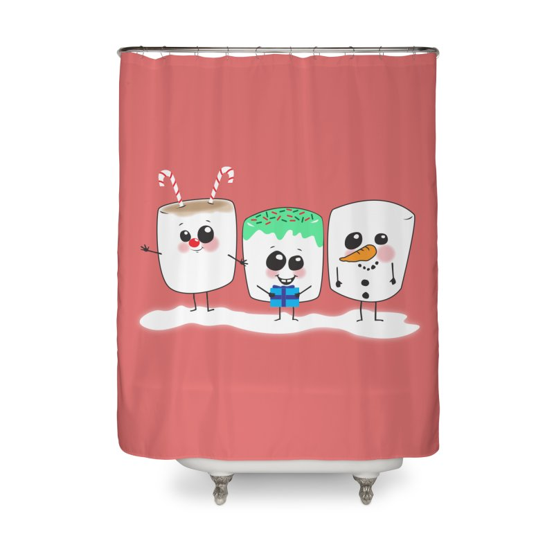 Festive Marshmallows Home Shower Curtain by LLUMA Creative Design