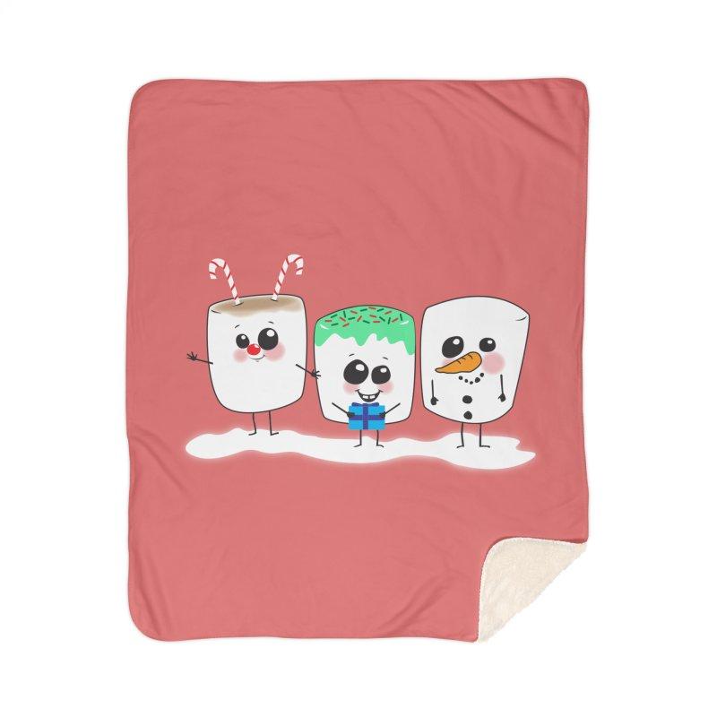 Festive Marshmallows Home Sherpa Blanket Blanket by LLUMA Creative Design