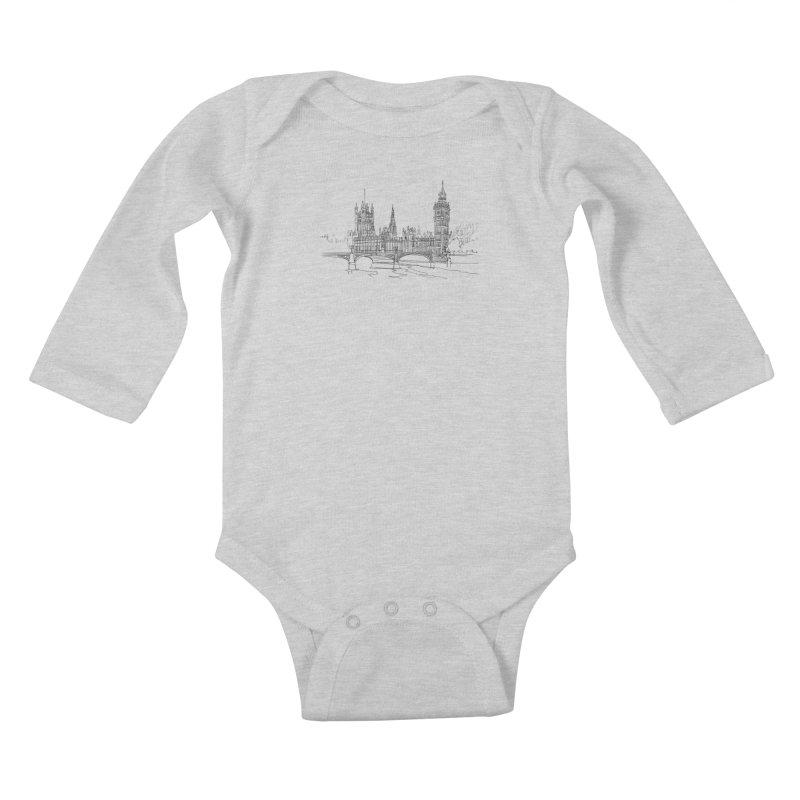 London, England Kids Baby Longsleeve Bodysuit by LLUMA Design