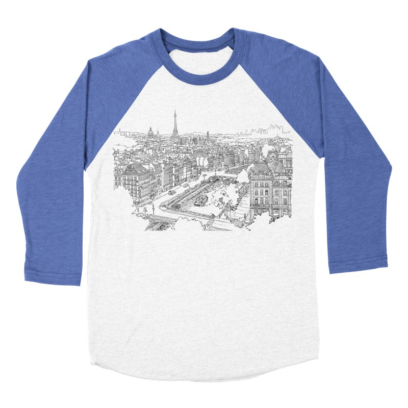 Paris, France Women's Baseball Triblend T-Shirt by LLUMA Design