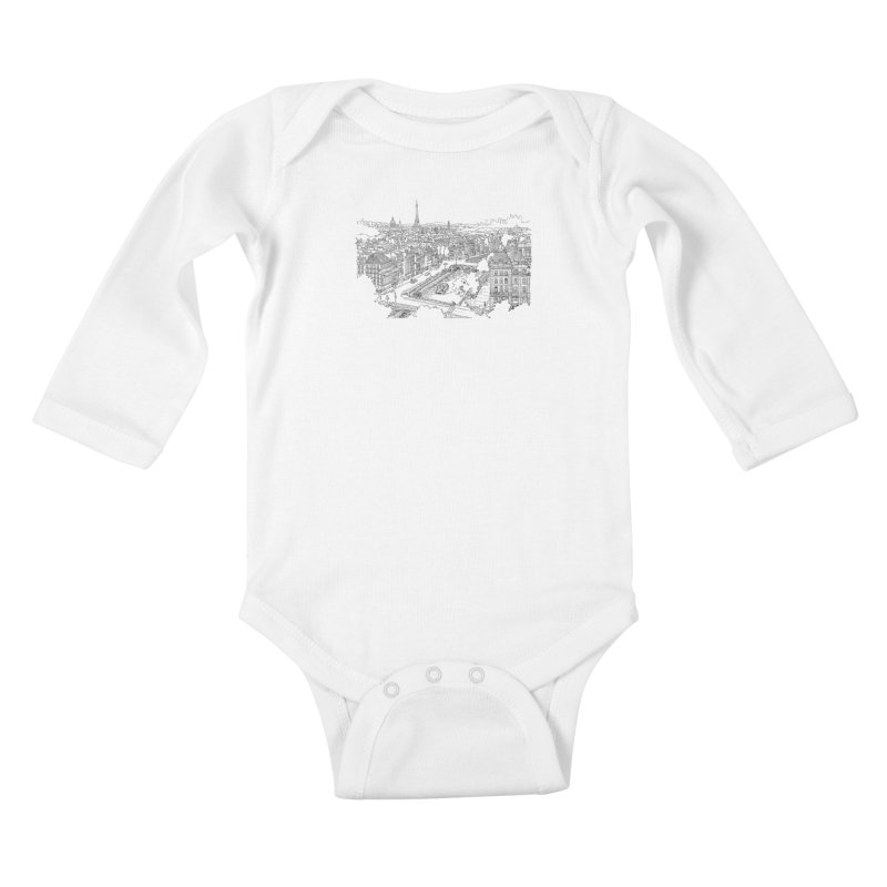 Paris, France Kids Baby Longsleeve Bodysuit by LLUMA Creative Design