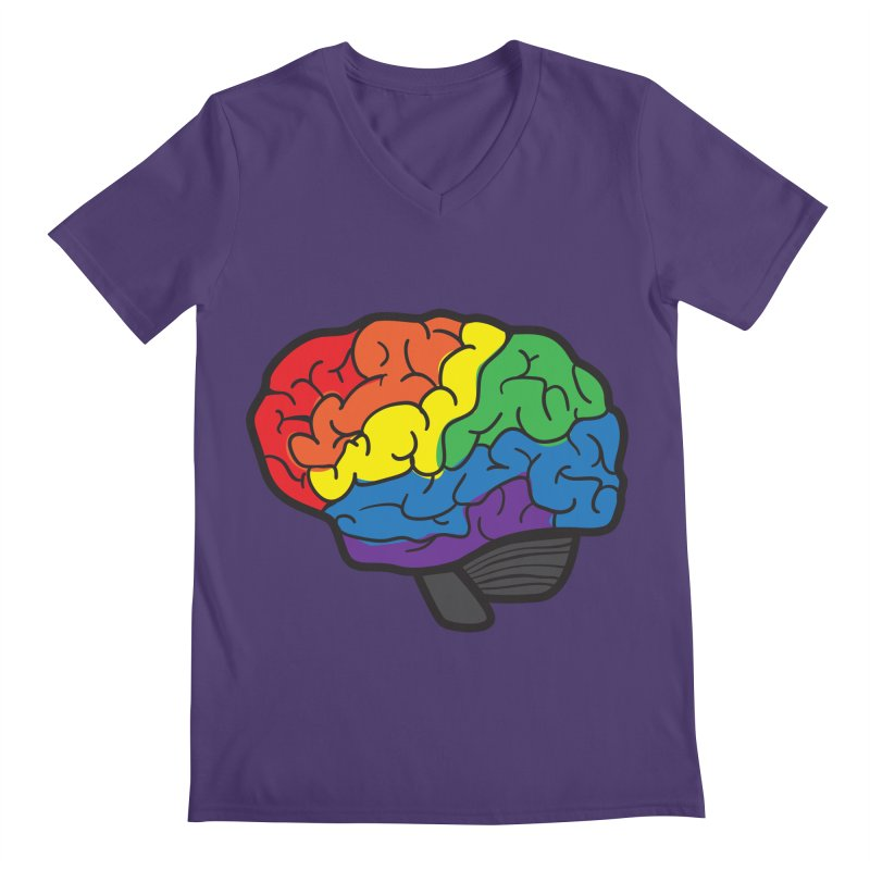 Colourful Brain Men's V-Neck by LLUMA Design
