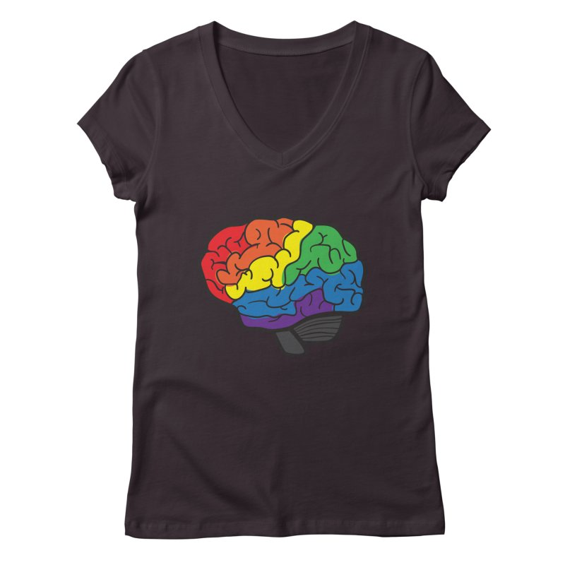 Colourful Brain Women's V-Neck by LLUMA Design