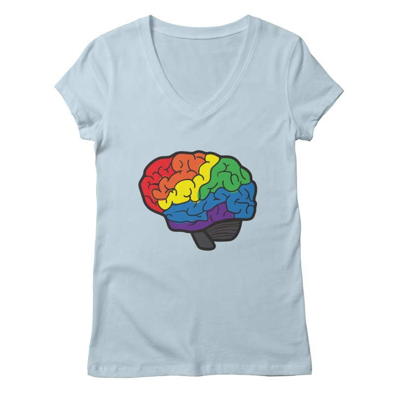 Colourful Brain Women's V-Neck by LLUMA Design