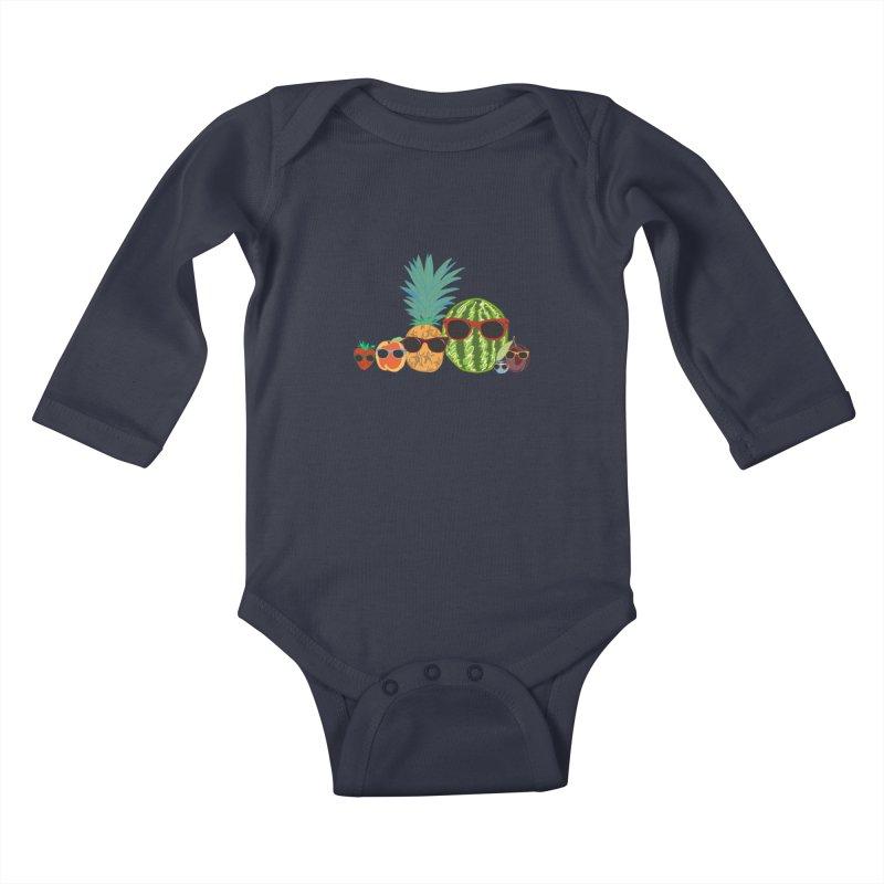 Fruit Party Kids Baby Longsleeve Bodysuit by LLUMA Design