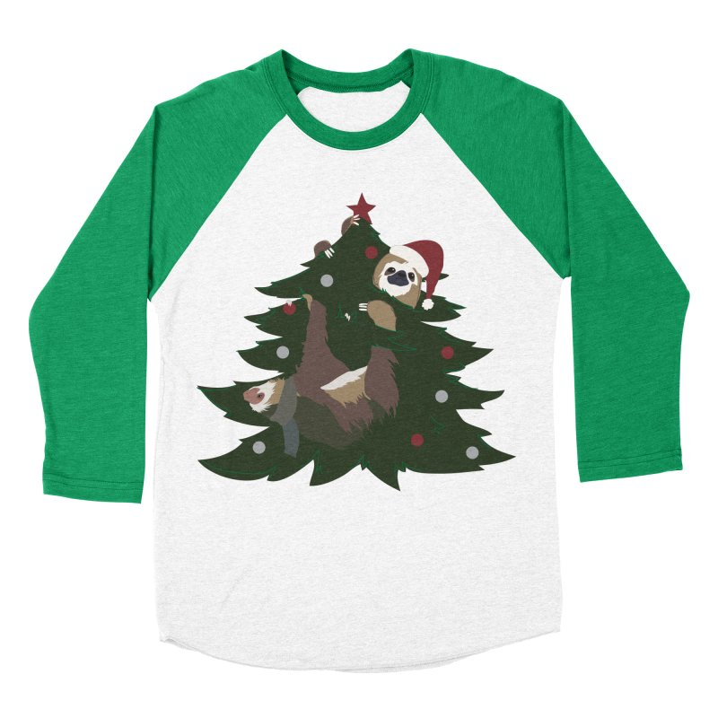 Merry Slothmas Women's Baseball Triblend T-Shirt by LLUMA Design