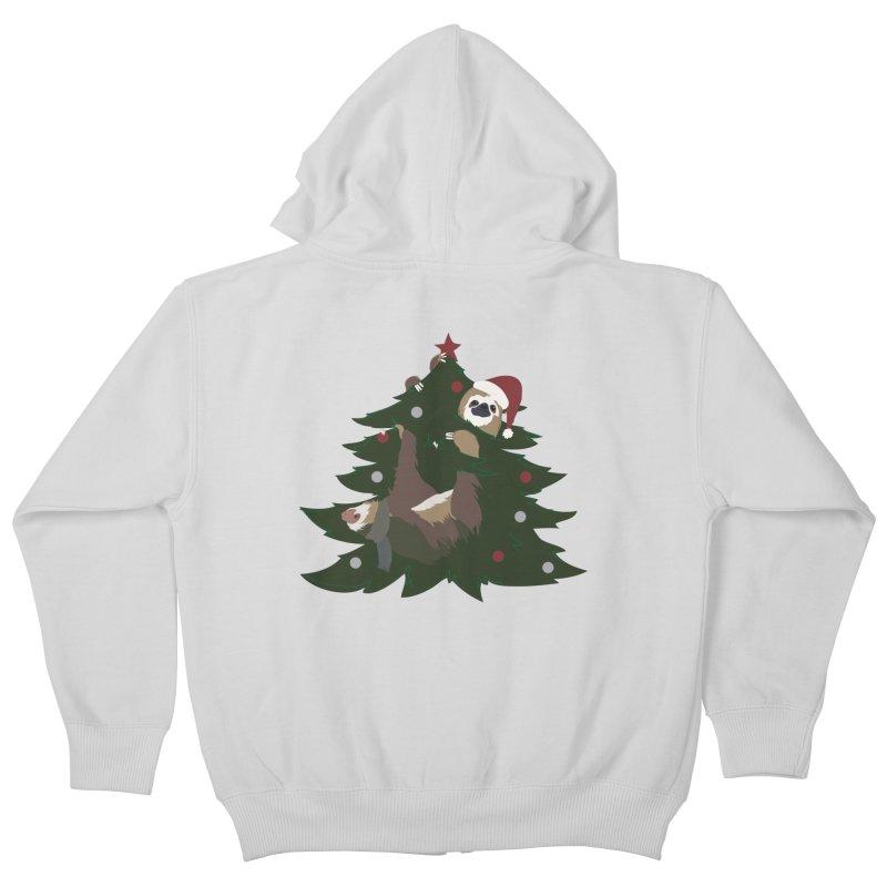 Merry Slothmas Kids Zip-Up Hoody by LLUMA Design