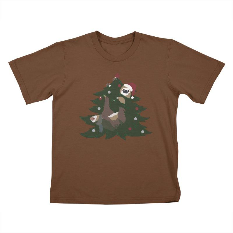 Merry Slothmas Kids T-Shirt by LLUMA Design