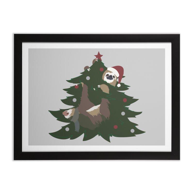 Merry Slothmas Home Framed Fine Art Print by LLUMA Design
