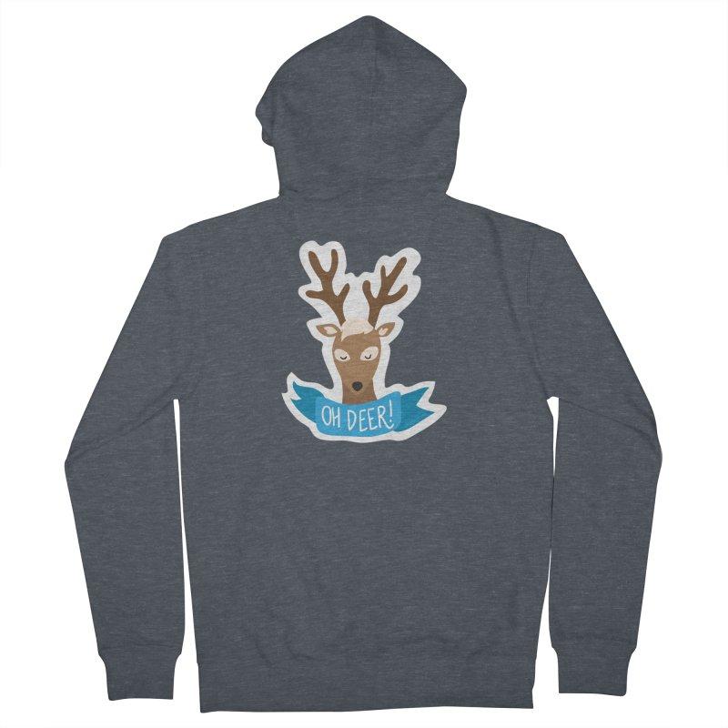 Oh Deer! - Sticker Shirt Women's French Terry Zip-Up Hoody by LLUMA Creative Design