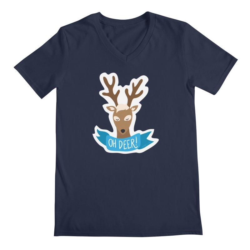 Oh Deer! - Sticker Shirt Men's Regular V-Neck by LLUMA Creative Design