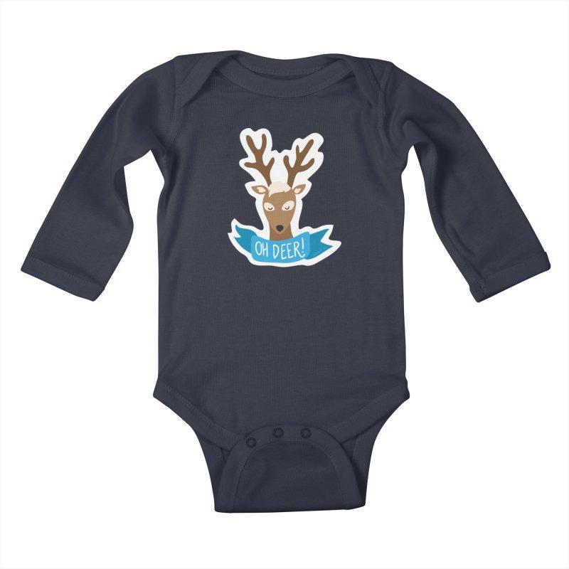 Oh Deer! - Sticker Shirt Kids Baby Longsleeve Bodysuit by LLUMA Creative Design