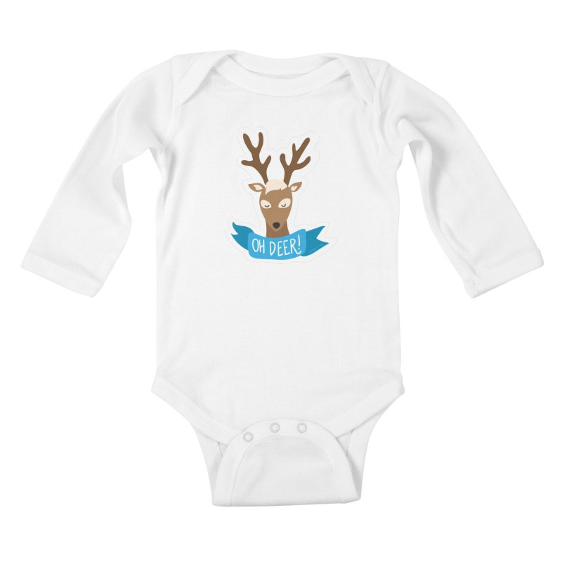 Oh Deer! - Sticker Shirt Kids Baby Longsleeve Bodysuit by LLUMA Creative Design