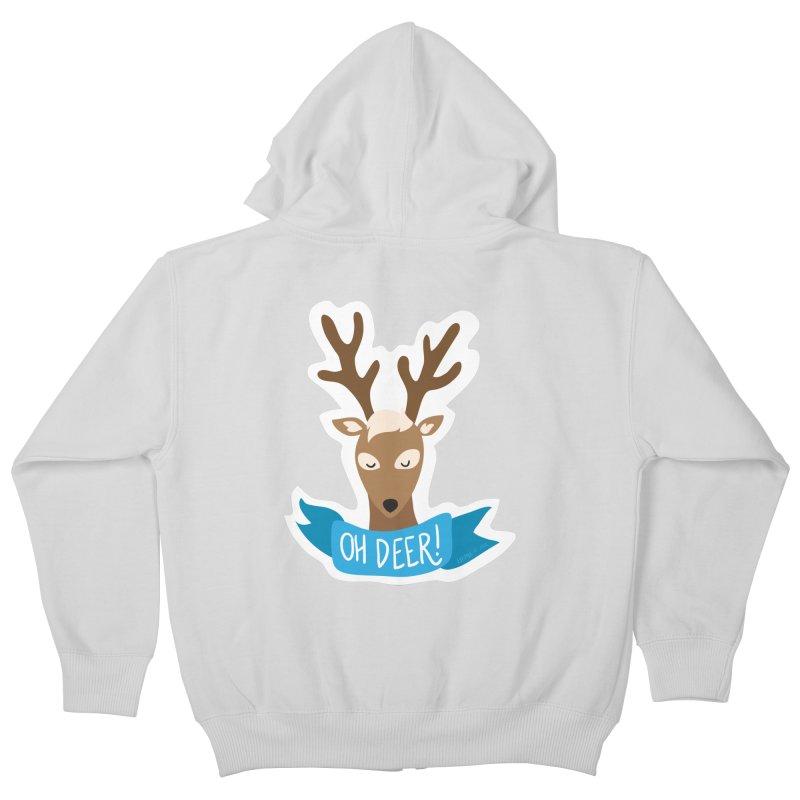 Oh Deer! - Sticker Shirt Kids Zip-Up Hoody by LLUMA Creative Design