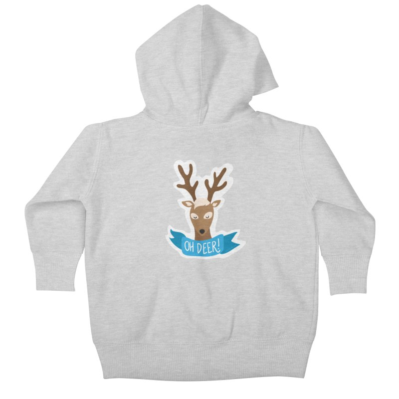 Oh Deer! - Sticker Shirt Kids Baby Zip-Up Hoody by LLUMA Creative Design
