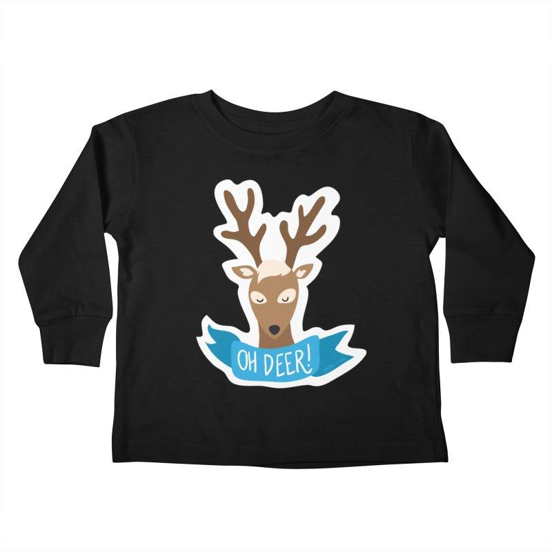 Oh Deer! - Sticker Shirt Kids Toddler Longsleeve T-Shirt by LLUMA Creative Design