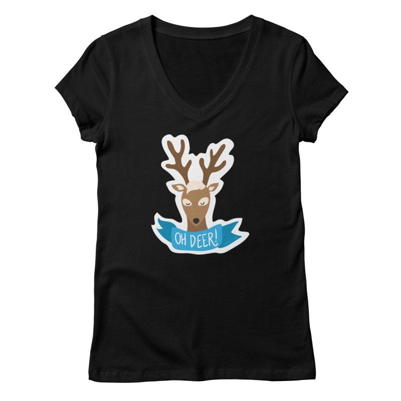 Oh Deer! - Sticker Shirt Women's V-Neck by LLUMA Creative Design