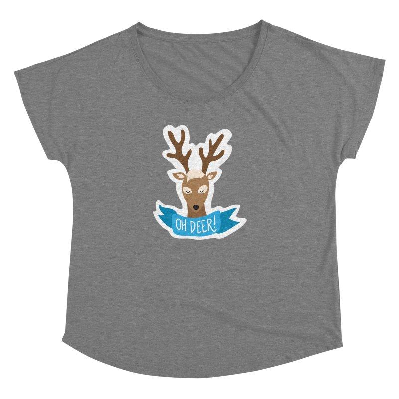 Oh Deer! - Sticker Shirt Women's Dolman Scoop Neck by LLUMA Creative Design