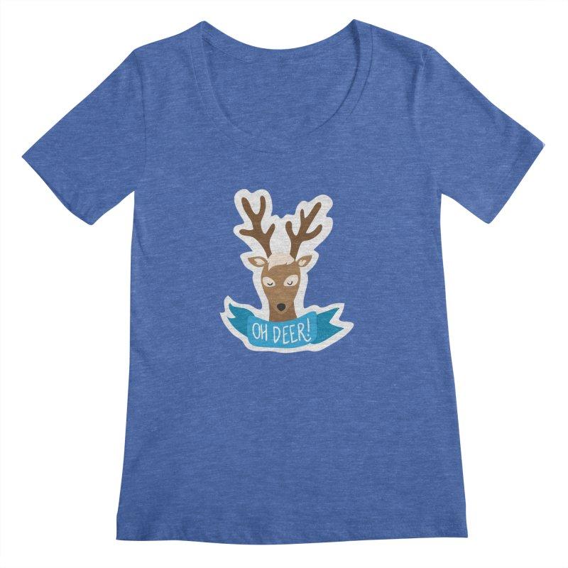 Oh Deer! - Sticker Shirt Women's Regular Scoop Neck by LLUMA Creative Design