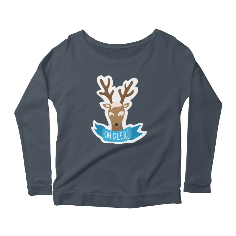Oh Deer! - Sticker Shirt Women's Longsleeve Scoopneck  by LLUMA Creative Design
