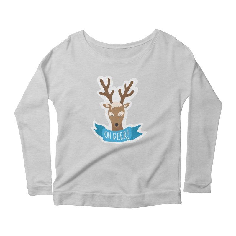 Oh Deer! - Sticker Shirt Women's Scoop Neck Longsleeve T-Shirt by LLUMA Creative Design