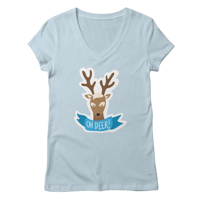 Oh Deer! - Sticker Shirt Women's Regular V-Neck by LLUMA Creative Design