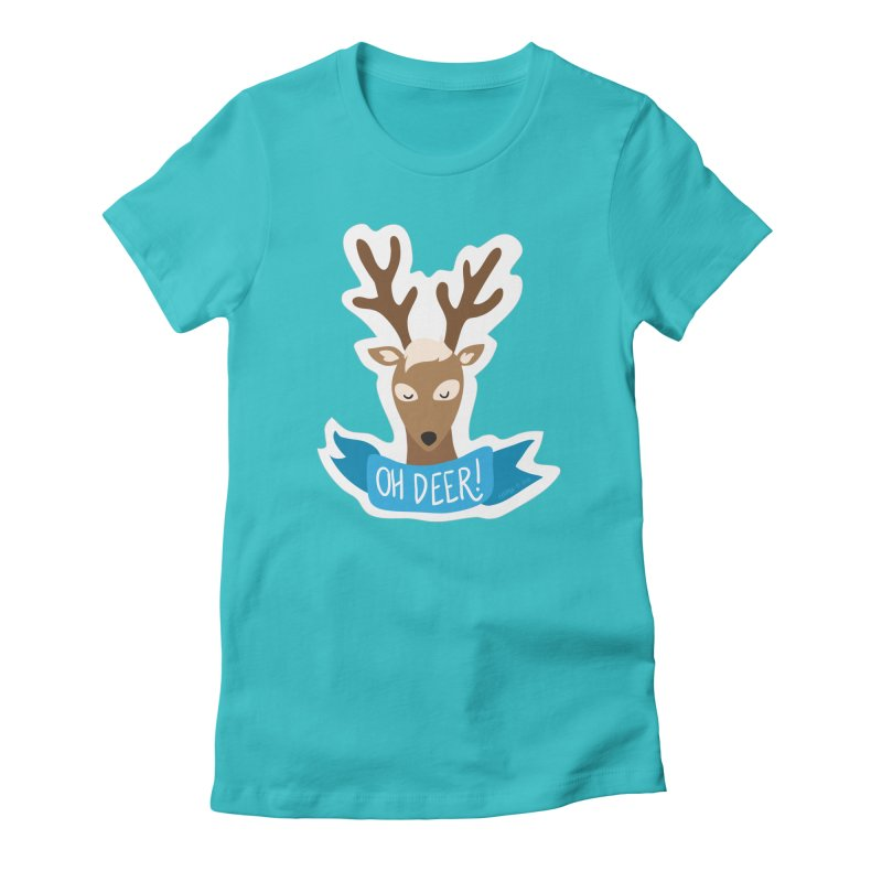 Oh Deer! - Sticker Shirt Women's Fitted T-Shirt by LLUMA Creative Design
