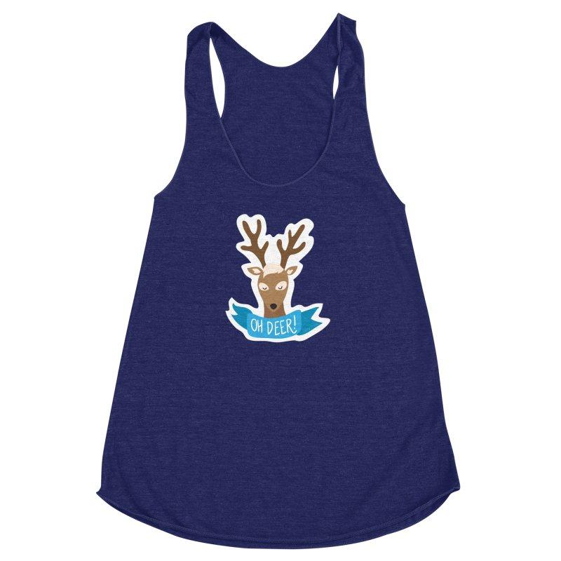 Oh Deer! - Sticker Shirt Women's Racerback Triblend Tank by LLUMA Creative Design