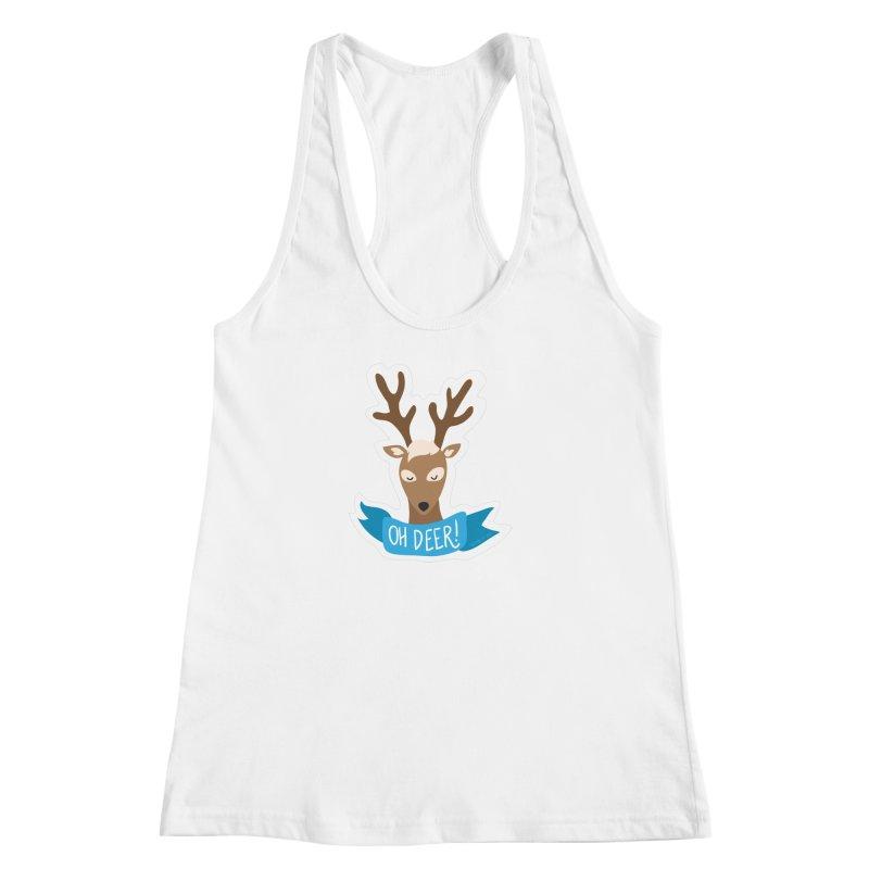 Oh Deer! - Sticker Shirt Women's Racerback Tank by LLUMA Creative Design
