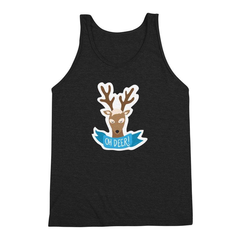 Oh Deer! - Sticker Shirt Men's Triblend Tank by LLUMA Creative Design