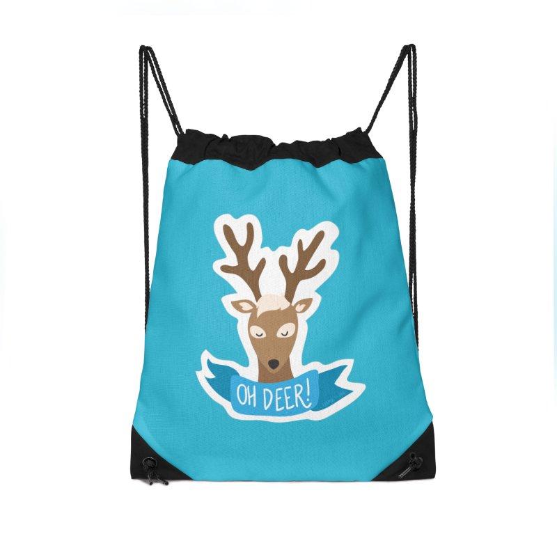 Oh Deer! - Sticker Shirt Accessories Drawstring Bag Bag by LLUMA Creative Design