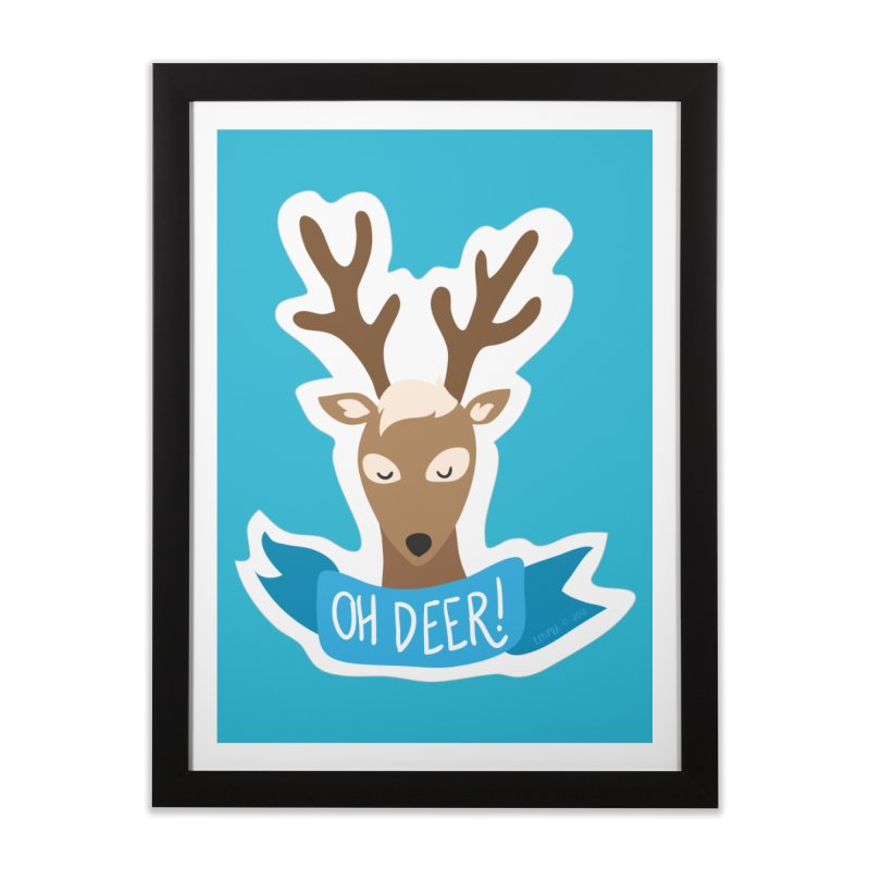 Oh Deer! - Sticker Shirt Home Framed Fine Art Print by LLUMA Creative Design