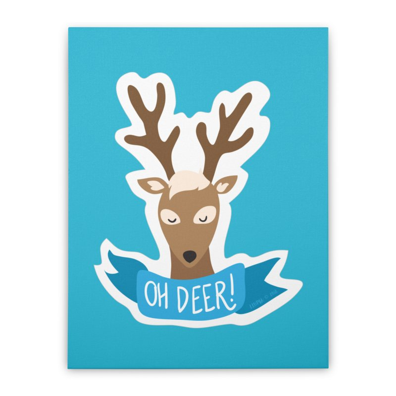 Oh Deer! - Sticker Shirt Home Stretched Canvas by LLUMA Creative Design