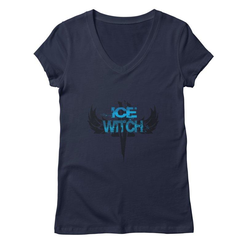 Ice Witch Tattoo Women's Regular V-Neck by Lockett Down's Artist Shop