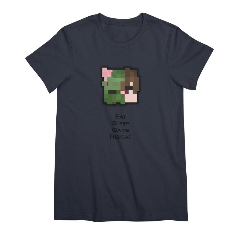 Eat Sleep Game Repeat Line Women's Premium T-Shirt by Lockyz Group