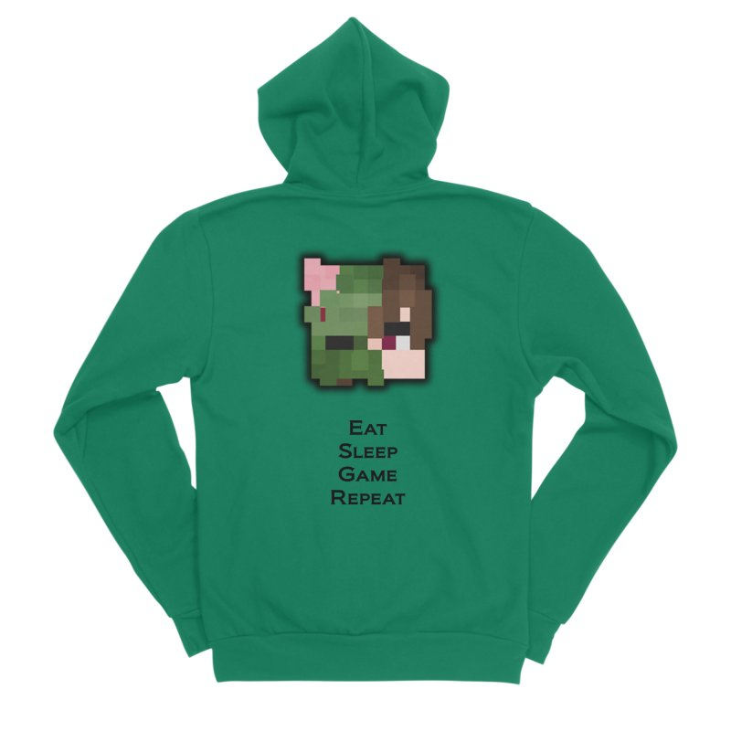 Eat Sleep Game Repeat Line Women's Sponge Fleece Zip-Up Hoody by Lockyz Group