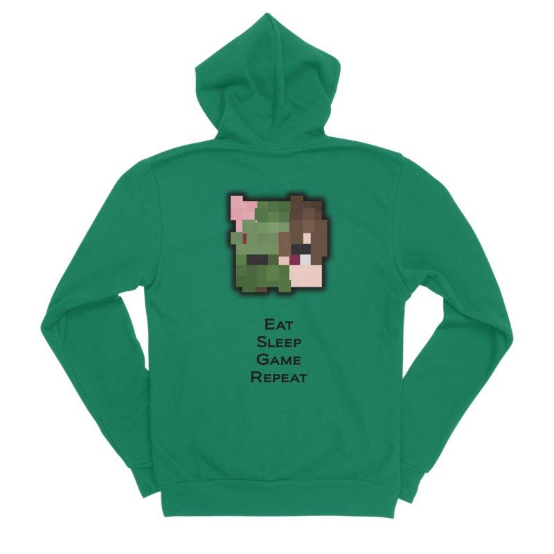 Eat Sleep Game Repeat Line Men's Sponge Fleece Zip-Up Hoody by Lockyz Group
