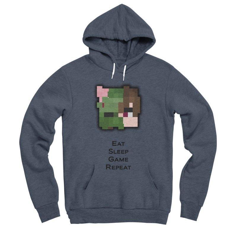 Eat Sleep Game Repeat Line Men's Sponge Fleece Pullover Hoody by Lockyz Group